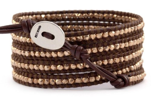 Chan Luu Brown Leather & Rose Gold Vermeil Beads Wrap Bracelet