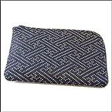 印傳屋 印伝 小銭入れ 1001 紗綾形 (紺×白)  和 和風 和柄 日本製 ギフトに。