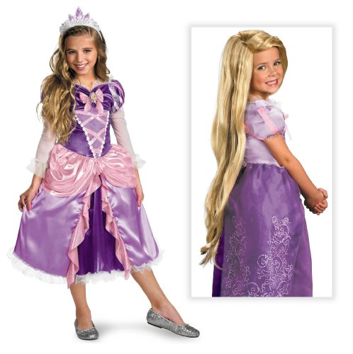 "Disney Princess ""Tangled"" Rapunzel Shimmer Deluxe Costume Including Wig Small 4-6"