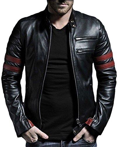 Leather4u KL767 giacca da uomo in pelle, in pelle di agnello, Nero