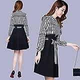 GAOLIM Dress Skirt Spring Long Sleeve Striped Long Winter Two-Piece Dresses, Xl, Black