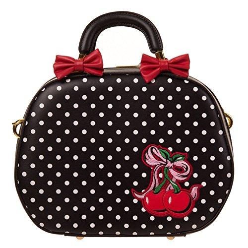 Donna Pois Nero Simil Pelle Vintage Borsa Da Bowling Borsa con Esclusivo Starlet Borsa Shopper Tote Bag
