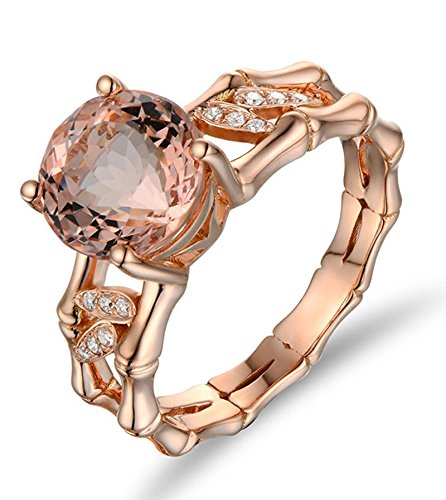 2.25 Carat Morganite And Diamond Halo Engagement Ring On 10K Rose Gold