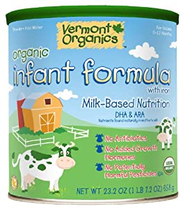 Vermont Organics Milk-Based Organic Infant Formula with Iron, 23.2 oz. cans (pack of 4)