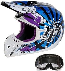 Nitro Bedlam Motocross Off Road (Fibreglas) Helmet XL Blue + (Black Goggles) (ACU RACE Approved)