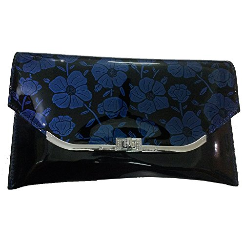 New Stylish File Design Girls Party Shoulder Cross Sling Hand Bag Clutch Money Purse for Women - Blue