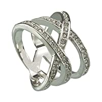 FM42 Silver-tone Triple Row Clear Crystal Crossover Cocktail Wide Ring R124 by FM42