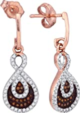 Brown Diamond Drop Earrings 10k Rose Gold