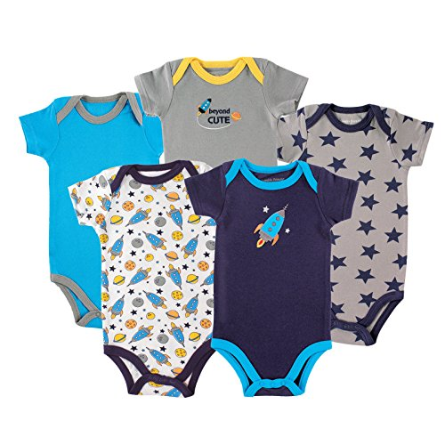 Luvable Friends 5-Pack Hanging Bodysuit, Rocket, 0-3 Months