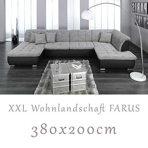 Wohnlandschaft, Couchgarnitur XXL Sofa, U-Form, schwarz/grau, Ottomane rechts thumbnail