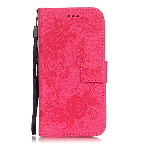 iPhone 6s Case, [Wallet Case] ESSTORE KickStand Apple iPhone 6 Case 4.7 Inch Leather Cover with Credit Card [ID Holders], Rose Pink