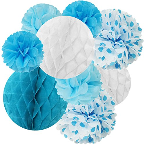 Wrapables Set of 21 Tissue Honeycomb Ball and Pom Pom Party Decorations for Weddings, Birthday Parties Baby Showers and Nursery Decor, Blue/ Light Blue/ Aqua/ (Paper Honeycomb Ball)