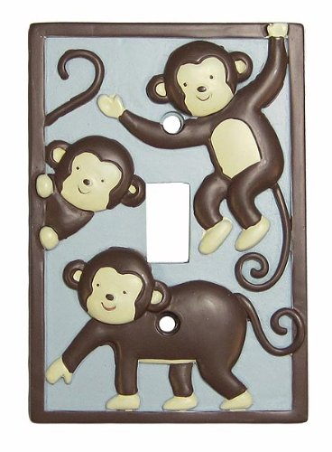 Kids Line Monkey Play Switchplate Cover, Blue/Brown front-461911