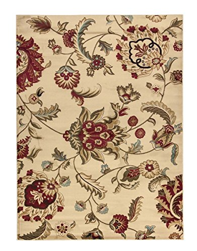 Ivory Traditional Floral Rug, 2-Feet 3-Inch x 3-Feet 11-Inch Open Print