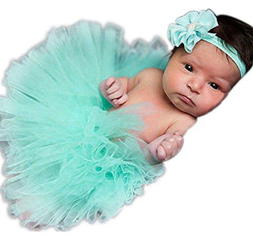 Baby Newborn Kostüm Fotoshooting Babyfotos Haarband mit Tutu Petticot Türkis