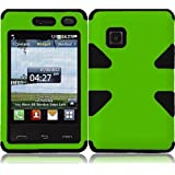 For LG 840G LG840G Dynamic Hybrid Tuff Hard Case Snap On Phone Silicone Cover Neon Green/Black Accessory