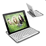EG-Tech Ultrathin Bluetooth Wireless Keyboard Slim Aluminum Cover with Stand for iPad 4 / 3 / 2 -White, White Aluminum Case with Built-In Bluetooth Keyboard for iPad