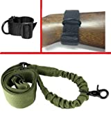 Ultimate Arms Gear Tactical Ambidextrous Slip On Stock Buttstock Black Single 1 Point Sling Mount Strap Loop Adapter Rifle Shotgun Attachment Nylon Webbing with D-Ring + OD Olive Drab Green 1 Single Point Bungee