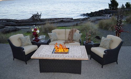 Outdoor Innovations Estrada 6-Piece All Weather Wicker Fire-Conversation Furniture Set image