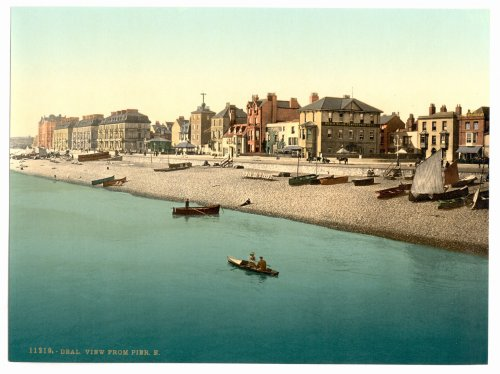 1890s photo View from pier E, Deal, England. Photochrom (also called the Aäc process) prints are col