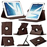 Stuff4 Leather Smart Case with 360 Degree Rotating Swivel Action and Free Screen Protector/Stylus Touch Pen for 8 inch Samsung Galaxy Note N5100/N5110/N5120 - Brown