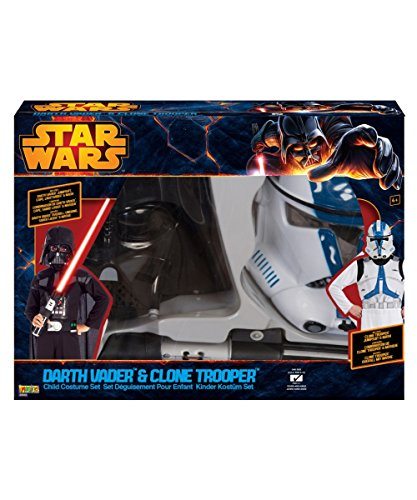 Star Wars Darth Vader and Clone Storm Trooper Boys Costume Box Set