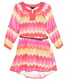 "My Michelle Big Girls' ""Enchanting Zigzag"" Belted Dress"