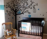 Pop Decors Vinyl Art Wall Decals, Nursery Tree with Cute Owls
