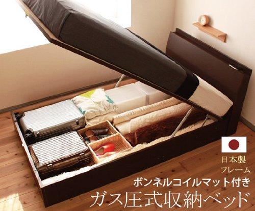 暮屋 * くらや ( くらや ) 新ガス圧式収納ベッド 【 フレーム日本製 】 【 セミダブル 】 【 レギュラーボンネルコイル付き 】