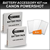 Clearance Sale on 2 NB-6L Batteries Power Kit for Canon Powershot D10, D20, SX240 HS, SX260 HS, Canon Elph 500 HS, S90, S95, SD4000 IS, SD3500, SD1300 IS, SD980 IS, SD1200 IS Kit Includes 2 Replacement NB6L Batteries + Screen Protectors