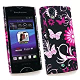 SONY ERICSSON XPERIA RAY (ST-18I) CLIP ON PROTECTION CASE/COVER/SKIN PINK GARDEN & LCD SCREEN PROTECTOR BY KIT ME OUT UK