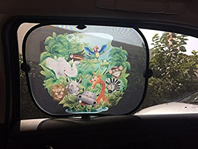 Starlitt Jungle Friends Car SunShade - Best Sunshades for Side Windows for Babies and Kids - Easy to Use Suction Cup Mounted