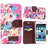 Malloom® 1PC Stunning Flower Print Magnetic Wallet Flip l Leather Cover Case For iPhone 6 (Pink)