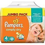 Pampers Simply Dry Windeln, Größe 4 (Maxi) 7-18 kg, Jumbo Pack, 2er Pack (2 x 74 Stück)