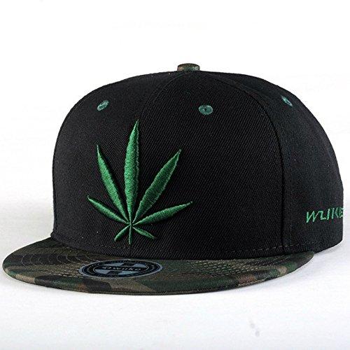 Unisex-Hip-Hop-Embroidered-Green-Marijuana-Weed-Snapback-Hat-Adjustable-Baseball-Cap