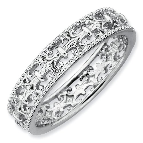 Sterling Silver Stackable Expressions Polished Fleur De Lis Ring - Size 9 - JewelryWeb