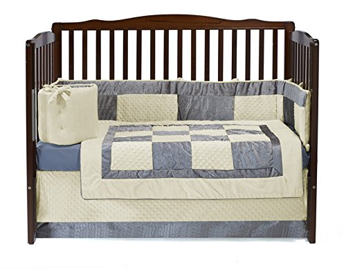Baby Doll Croco Minky Crib Set, Beige/Grey