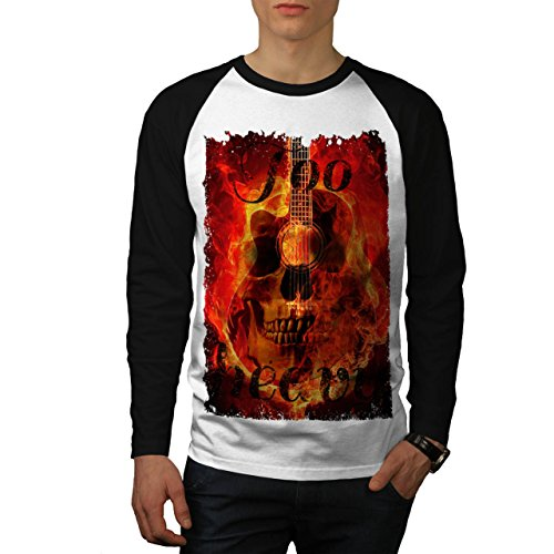 Cranio Concerto Flames Festival Uomo Nuovo Bianca (Maniche Nere) XL Baseball manica lunga Maglietta | Wellcoda