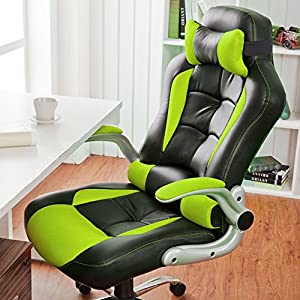 Office Chair Desk Chair Racing Chair Computer Chair with High Back PU Leather Executive (GREEN)