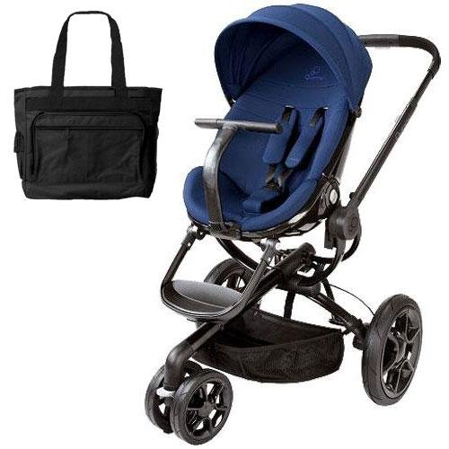 Quinny Cv078Bfp Moodd Stroller In Blue Reliance With A Diaper Bag front-821409