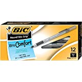 BIC Round Stic Grip Xtra Comfort Ball Pen, Fine Point 0.8 mm), Black, 12-Count