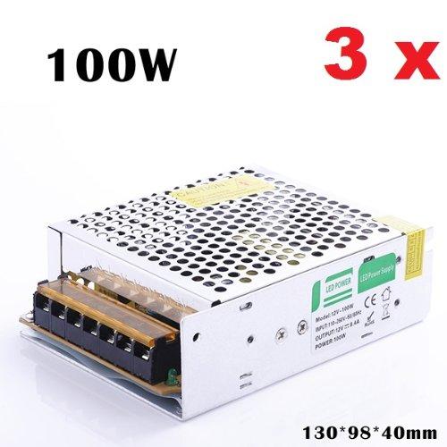 3X [Himanjie] Trafo AC 90V-250V zu DC 12V 8,3A 100W LED Schalter Transformer Netzteil für LED-Streifen Schaltnetzteil