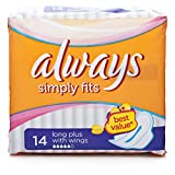 Always Long Plus Simple Fit Pad with Wings - Pack of 14
