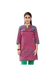 Shanaya Cotton Traditional Fuchsia Lace Kurti For Women