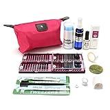 Eyelash Extensions Curl Kit, LuckyFine Pro Semi Permanent Make Up Individual Eyelash Extensions C Curl Glue Kit Tools Case Set Bag