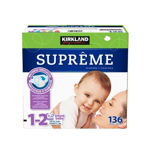 Kirkland Signature Supreme Diapers Size 1-2; Quantity 136 back-48157
