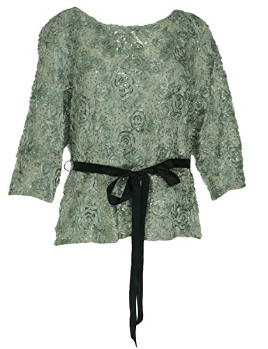 Onyx Nite Silver Women's PLus Soutache Lace Sequin Blouse Gray 2XL