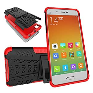 Chevron Tough Hybrid Armor Back Cover Case with Kickstand for Xiaomi Mi 5 (Red)