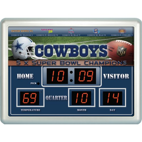 Team Sports Dallas Cowboys 14x19 Scoreboard / Clock / Thermometer