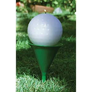 Golf Ball Citronella Wax Candle with Metal Tee Garden Stake Set